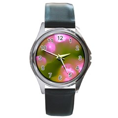 Pink And Green Circles Round Metal Watches by timelessartoncanvas