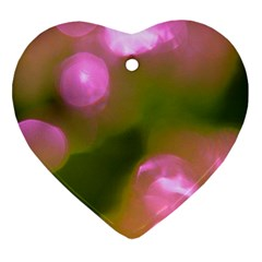 Pink And Green Circles Heart Ornament (2 Sides) by timelessartoncanvas