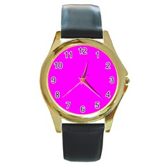 Trendy Purple  Round Gold Metal Watches by Costasonlineshop