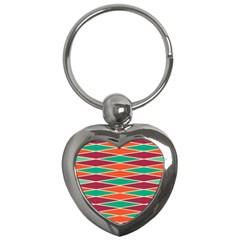 Distorted Rhombus Pattern 			key Chain (heart) by LalyLauraFLM
