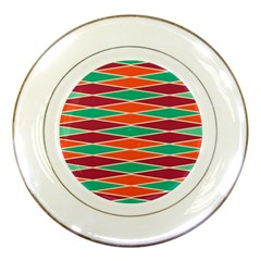 Distorted Rhombus Pattern 			porcelain Plate by LalyLauraFLM