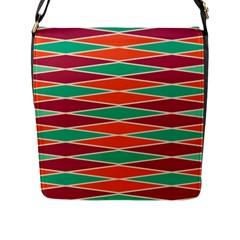 Distorted Rhombus Pattern 			flap Closure Messenger Bag (l) by LalyLauraFLM
