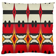 Rhombus Ovals And Stripes 	large Flano Cushion Case (two Sides) by LalyLauraFLM
