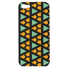 Green Triangles And Other Shapes Pattern			apple Iphone 5 Hardshell Case by LalyLauraFLM
