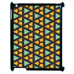 Green Triangles And Other Shapes Pattern			apple Ipad 2 Case (black) by LalyLauraFLM