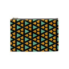 Green Triangles And Other Shapes Pattern Cosmetic Bag by LalyLauraFLM