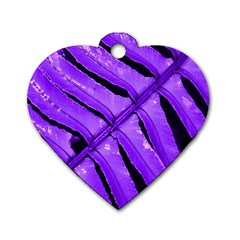 Purple Fern Dog Tag Heart (one Side) by timelessartoncanvas