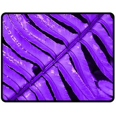 Purple Fern Fleece Blanket (medium)  by timelessartoncanvas