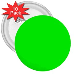 Cool Green 3  Buttons (10 Pack)  by Costasonlineshop