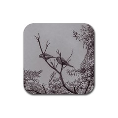 Couple Of Parrots In The Top Of A Tree Rubber Square Coaster (4 Pack)  by dflcprints