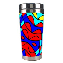 Colorful Bent Shapes Stainless Steel Travel Tumbler by LalyLauraFLM