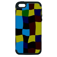 Distorted Squares In Retro Colors			apple Iphone 5 Hardshell Case (pc+silicone) by LalyLauraFLM