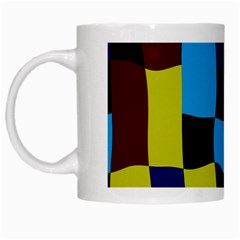 Distorted Squares In Retro Colors White Mug by LalyLauraFLM