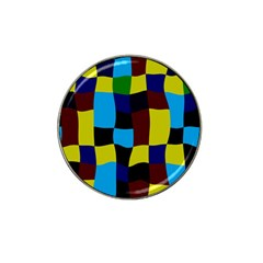 Distorted Squares In Retro Colors 			hat Clip Ball Marker by LalyLauraFLM