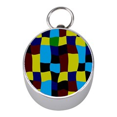Distorted Squares In Retro Colors 			silver Compass (mini) by LalyLauraFLM