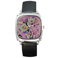 Floral Art Studio 12216 Square Metal Watches by MoreColorsinLife