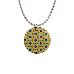 Floral Pattern 			1  Button Necklace by LalyLauraFLM