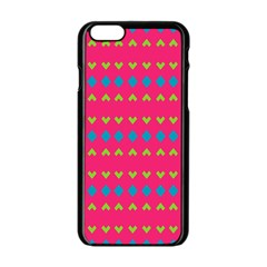 Hearts And Rhombus Pattern			apple Iphone 6/6s Black Enamel Case by LalyLauraFLM