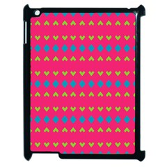 Hearts And Rhombus Pattern			apple Ipad 2 Case (black) by LalyLauraFLM