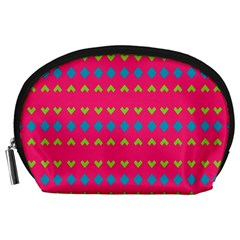 Hearts And Rhombus Pattern Accessory Pouch by LalyLauraFLM