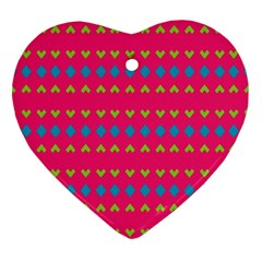 Hearts And Rhombus Pattern 			ornament (heart) by LalyLauraFLM