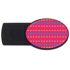 Hearts And Rhombus Pattern 			usb Flash Drive Oval (4 Gb) by LalyLauraFLM