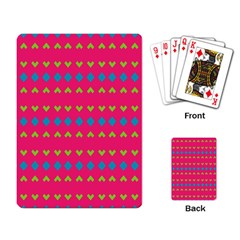 Hearts And Rhombus Pattern 			playing Cards Single Design by LalyLauraFLM
