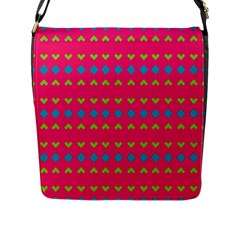 Hearts And Rhombus Pattern 			flap Closure Messenger Bag (l) by LalyLauraFLM