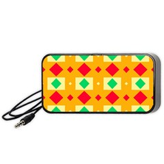 Green Red Yellow Rhombus Pattern Portable Speaker by LalyLauraFLM