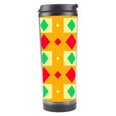 Green Red Yellow Rhombus Pattern Travel Tumbler by LalyLauraFLM