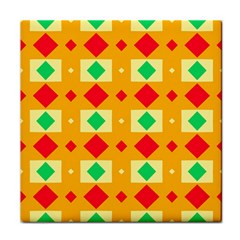 Green Red Yellow Rhombus Pattern 			tile Coaster by LalyLauraFLM