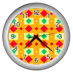 Green Red Yellow Rhombus Pattern 			wall Clock (silver) by LalyLauraFLM