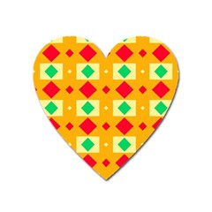 Green Red Yellow Rhombus Pattern 			magnet (heart) by LalyLauraFLM
