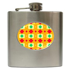 Green Red Yellow Rhombus Pattern 			hip Flask (6 Oz) by LalyLauraFLM