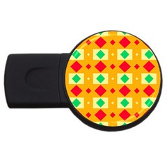 Green Red Yellow Rhombus Pattern 			usb Flash Drive Round (2 Gb) by LalyLauraFLM