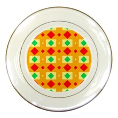 Green Red Yellow Rhombus Pattern 			porcelain Plate by LalyLauraFLM