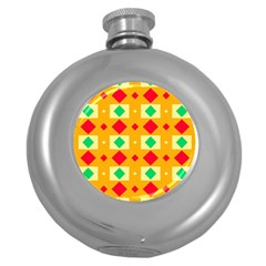 Green Red Yellow Rhombus Pattern 			hip Flask (5 Oz) by LalyLauraFLM