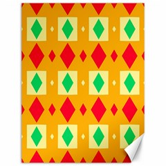 Green Red Yellow Rhombus Pattern 			canvas 12  X 16  by LalyLauraFLM