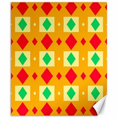 Green Red Yellow Rhombus Pattern 			canvas 20  X 24  by LalyLauraFLM