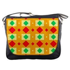 Green Red Yellow Rhombus Pattern 			messenger Bag by LalyLauraFLM