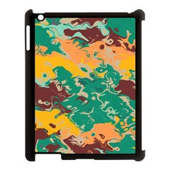 Texture In Retro Colors			apple Ipad 3/4 Case (black) by LalyLauraFLM