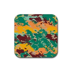 Texture In Retro Colors 			rubber Square Coaster (4 Pack by LalyLauraFLM