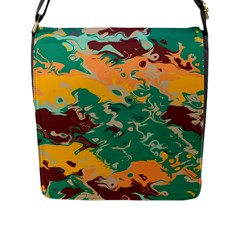 Texture In Retro Colors 			flap Closure Messenger Bag (l) by LalyLauraFLM