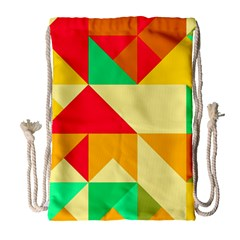 Retro Colors Shapes Large Drawstring Bag by LalyLauraFLM