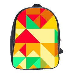 Retro Colors Shapes 			school Bag (large) by LalyLauraFLM
