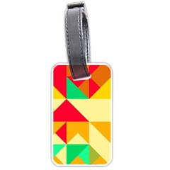 Retro Colors Shapes 			luggage Tag (one Side) by LalyLauraFLM