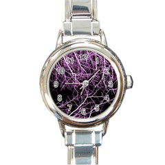 Purple Twigs Round Italian Charm Watches by timelessartoncanvas