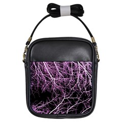 Purple Twigs Girls Sling Bags by timelessartoncanvas