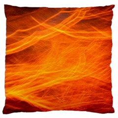 Orange Wonder Large Flano Cushion Cases (one Side)  by timelessartoncanvas