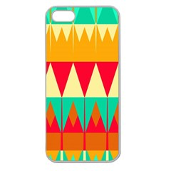 Triangles And Other Retro Colors Shapes 			apple Seamless Iphone 5 Case (clear) by LalyLauraFLM